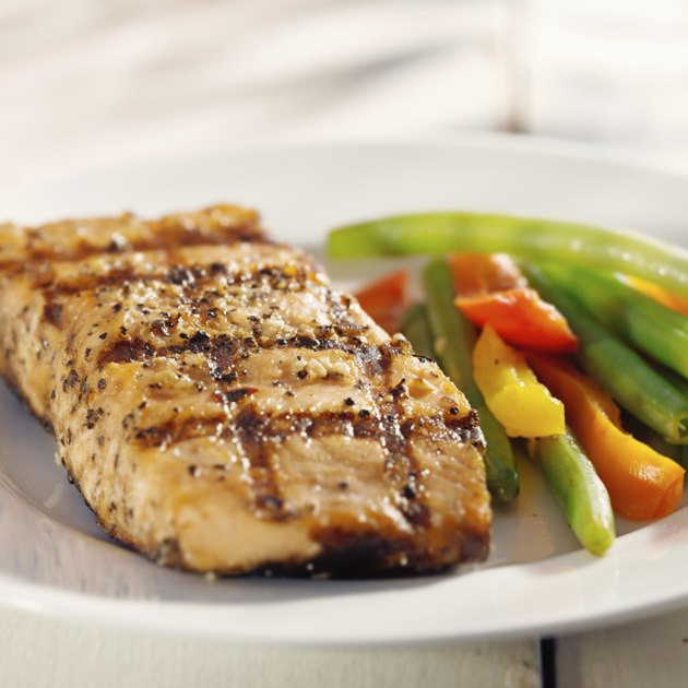 grilled salmon with vegetables close up