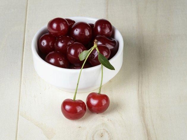 ripe cherries in bowl