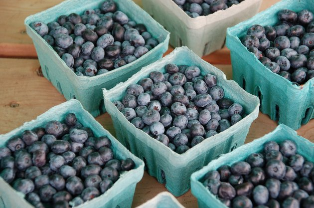 Blueberries in baskets.