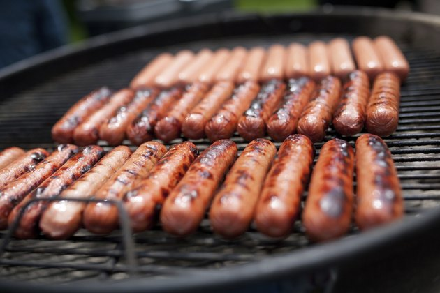Hot dogs on the grill