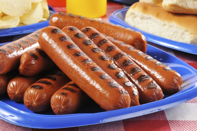Picnic plate of grilled hot dogs