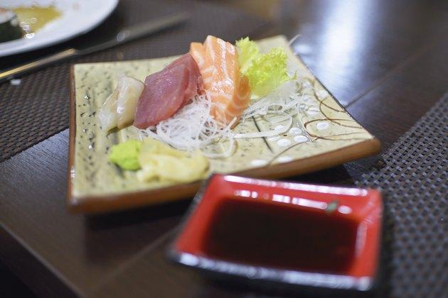 Sashimi tuna and salmon