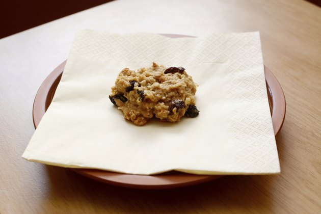 Freshly baked oatmeal raisin cookie