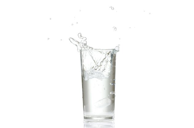 Water splashes in the glass