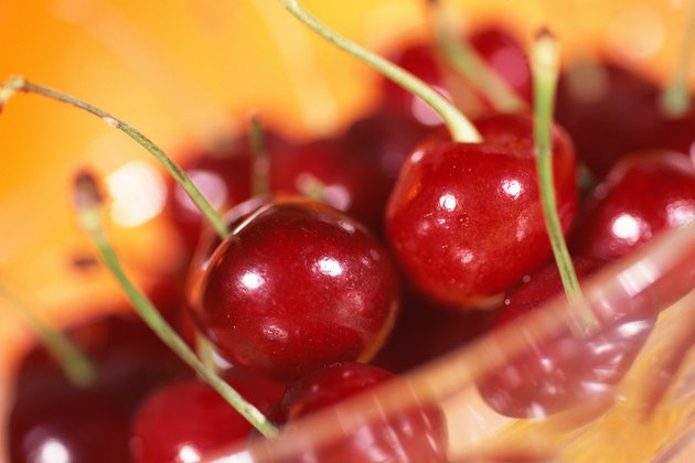 Bowl of cherries with stems