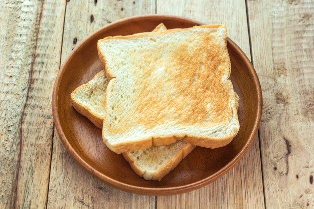 Toast in wood dish