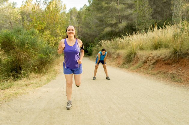 runners training in the mountain