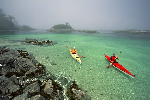 People sea-kayaking
