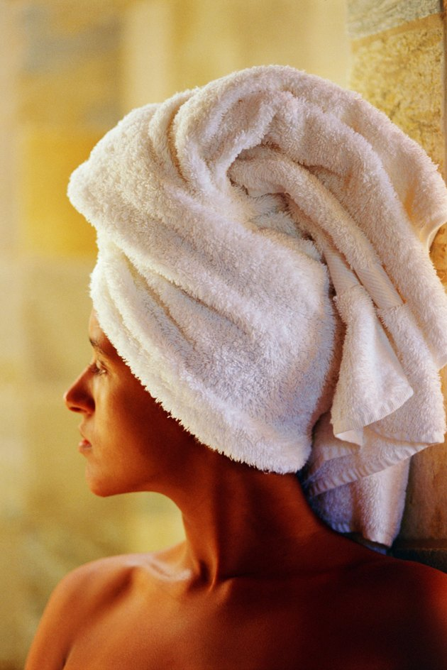 Woman with hair in towel