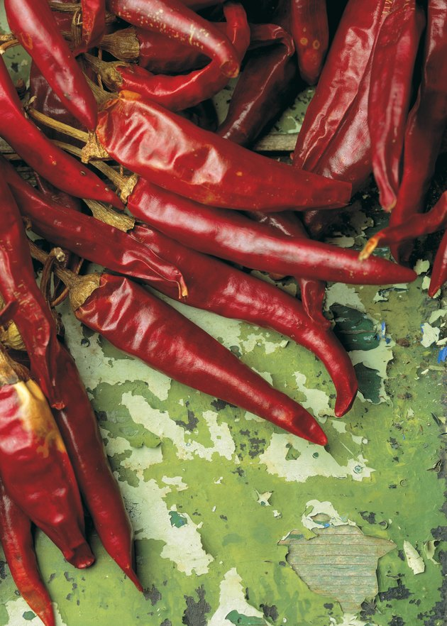 close-up of dry red chilies