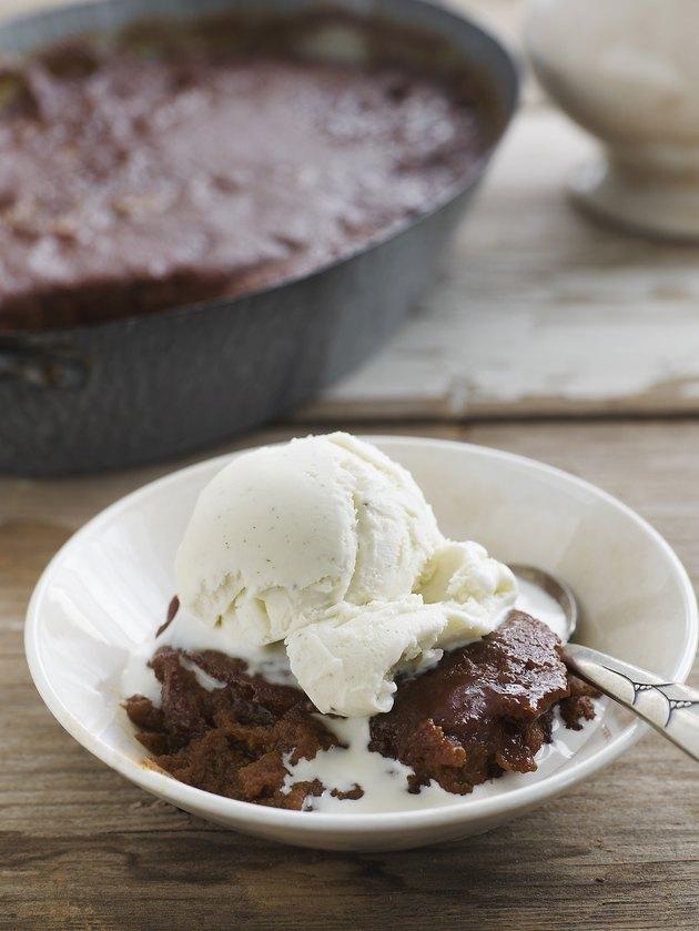 Indian Pudding with Vanilla Ice Cream