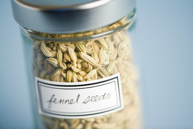 Jar containing Fennel seeds