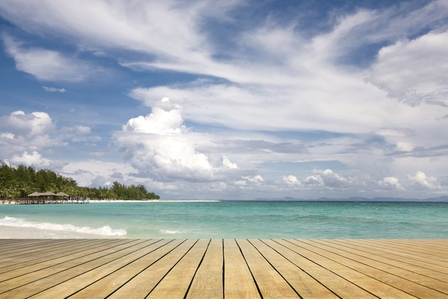 wooden platform beside the sea