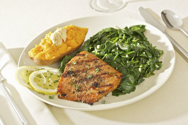 Heart Healthy Grilled Salmon and Spinach Meal