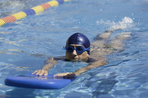 Swimming with a kickboard