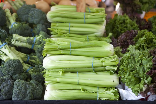 Fresh Celery at an Outdoor Farmers Market