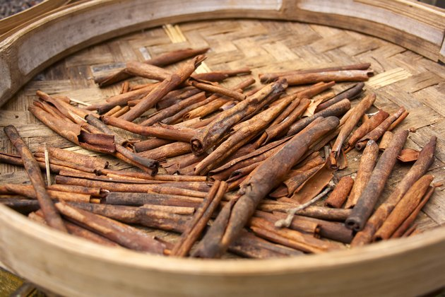 Cinnamon sticks in a basket closeup