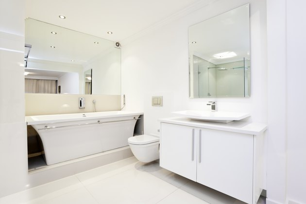 Modern, upmarket, all white bathroom