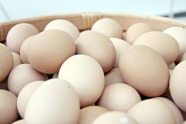 Stack of fresh egg Basket.
