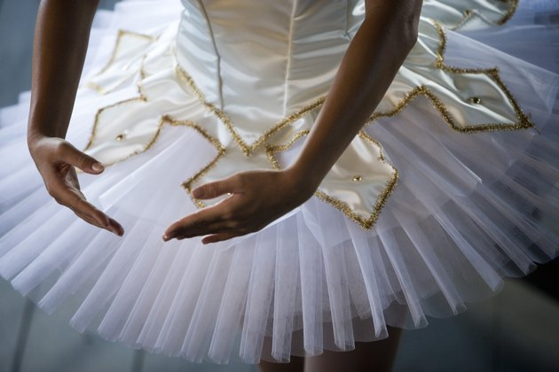 Midsection of a young woman practicing ballet dancing