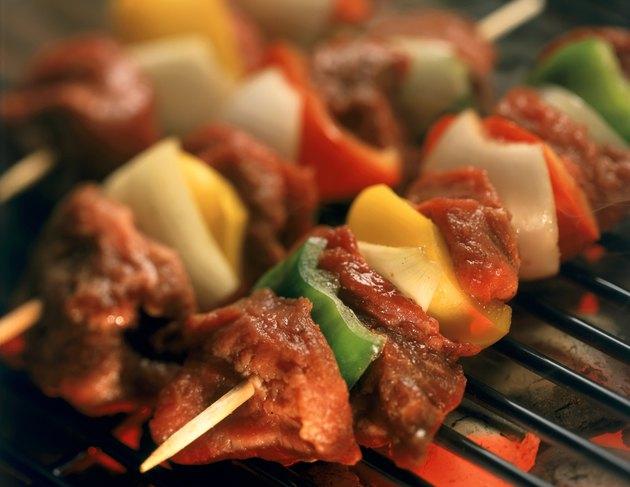 Close-up of shish kebab