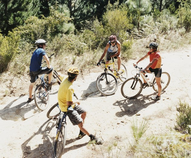 Four People Chatting on a Dirt Road in a Forest Riding Mountain Bikes
