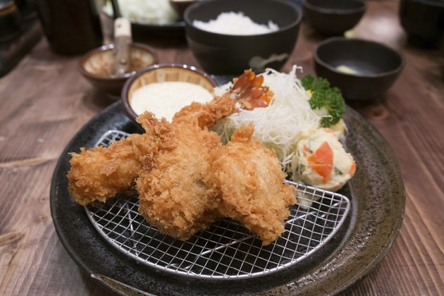 Japanese Cuisine - Tempura Shrimp and Pork (Deep Fried)