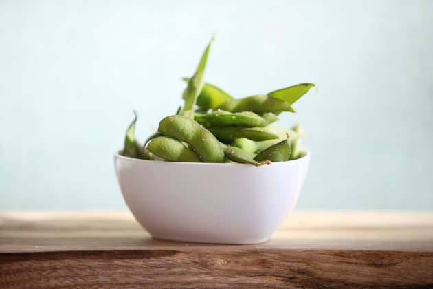 Edamame in a white dish