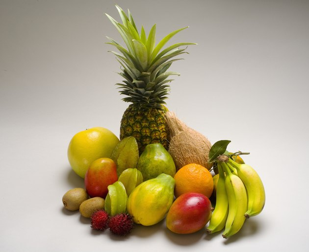 Studio shot of a variety of tropical fruit.