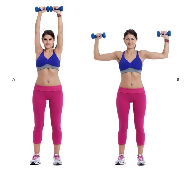 Step by step instructions:  Stand with your feet hip-width apart, holding a pair of dumbbells, palms facing away from you. Curl the weights to shoulder height. (B) then rotate your hands so that your palms face forward and press the dumbbells toward the ceiling until your arms are extended directly overhead. (A)
