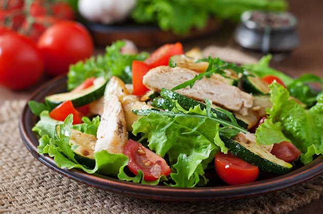 Salad of chicken breast with zucchini and cherry tomatoes