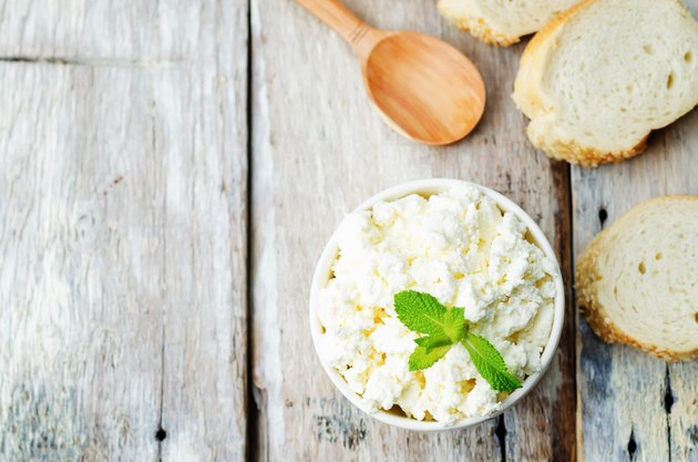 homemade ricotta with bread decorated with mint