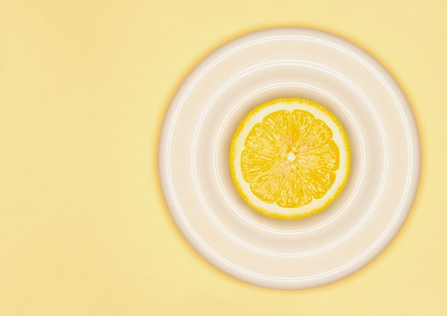 Sliced lemon on plate
