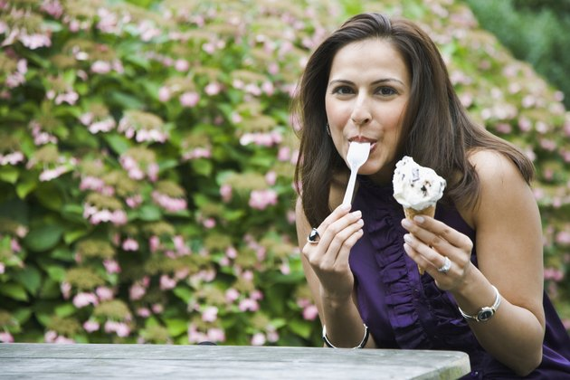 Portrait of a woman eating ice-cream