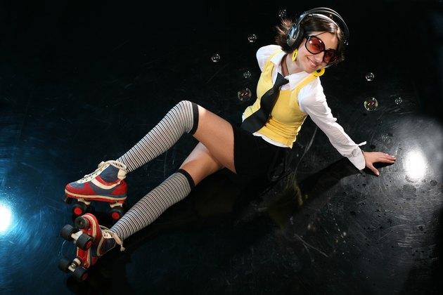 Funky girl on dance floor