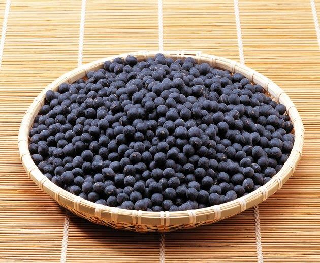 Black soybean in basket