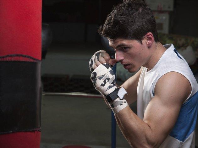 Caucasian boxer man