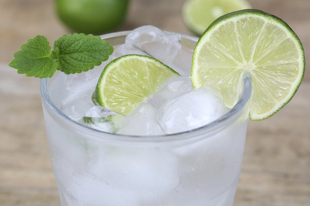 Cold mineral water drink with lime