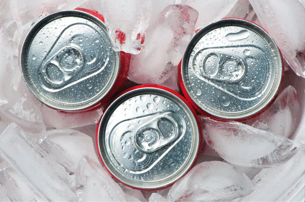 Iced metallic cans,