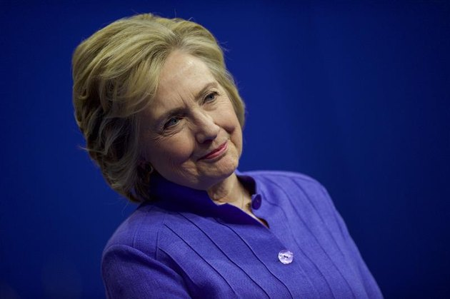 Hillary Clinton smiles at a rally.