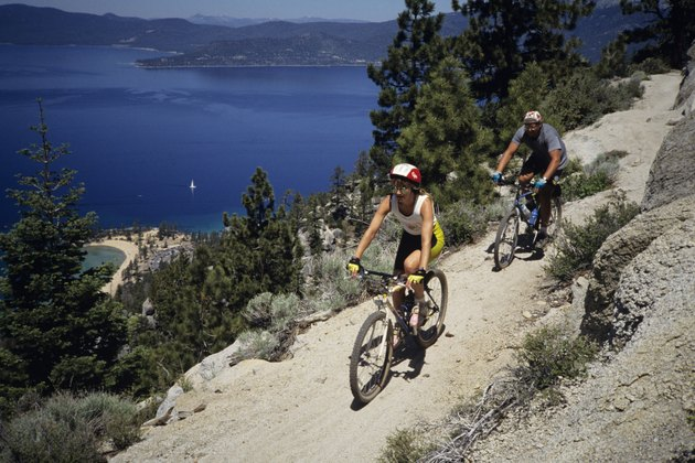 Mountain biking, elevated view
