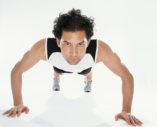 Front View of a Man Doing Press-ups