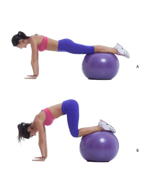 Step by step instructions for abs: Start in a push-up position with your feet up on the ball. Make sure that you engage your core and raise your hips so your back is flat before you begin. (A) Keep your back flat and try not to raise you hips as you draw your knees into your chest. (B)