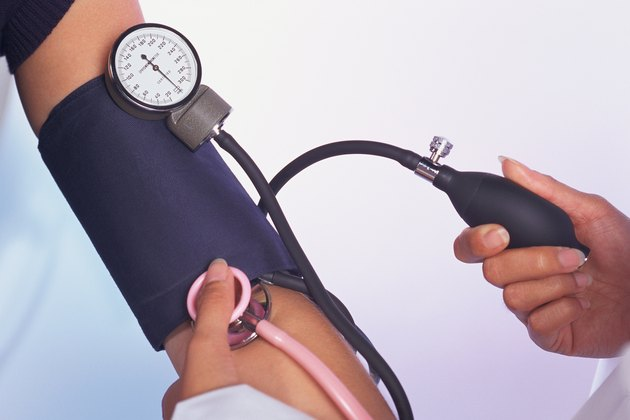 Close-up of blood pressure cuff on arm