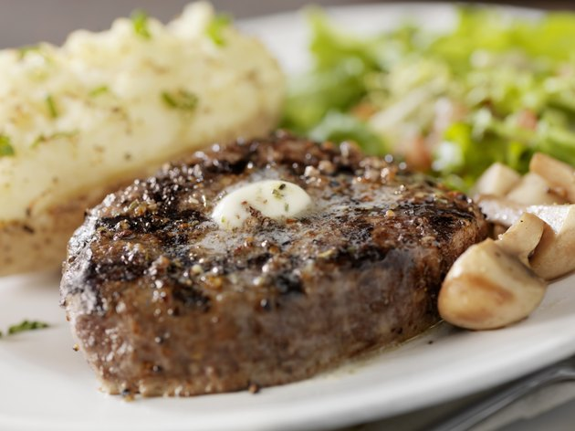 Steak with Mushrooms and a Baked Potato