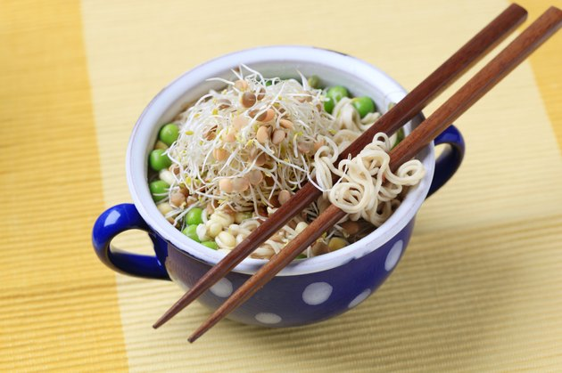 Pulses and sprouts with noodles - closeup