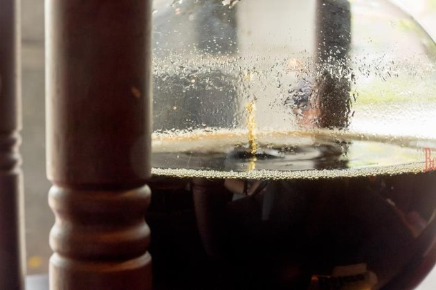 Coffee in wooden cold brew drip