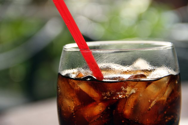 Soda with Ice Cube and Drinking Straw