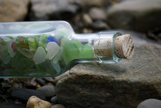 Sea Glass In A Corked Bottle