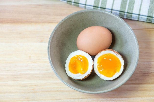 half medium-boiled eggs in Japanese Bowl